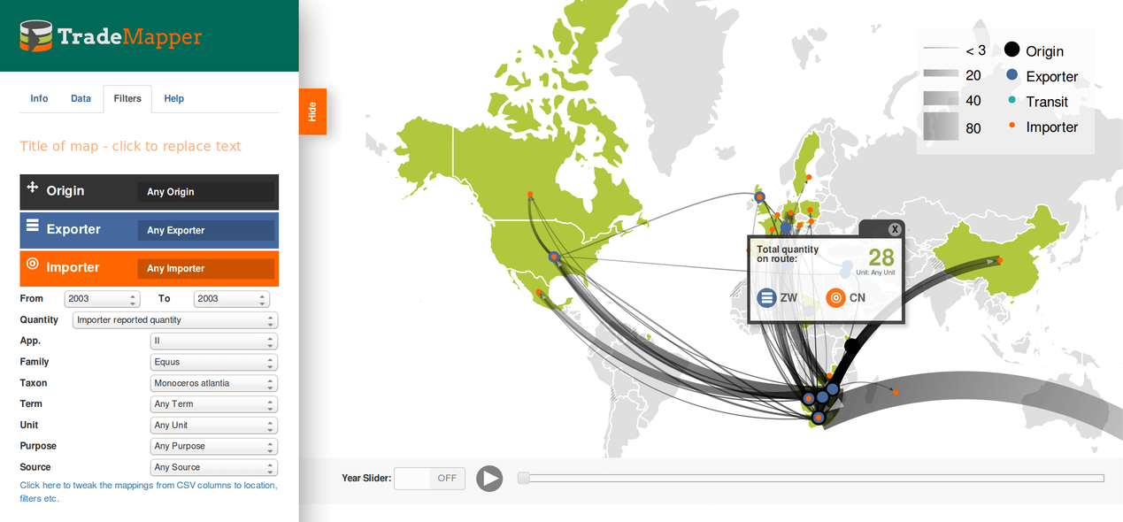 Trademapper - interactive data visualisation tool for WWF and Traffic