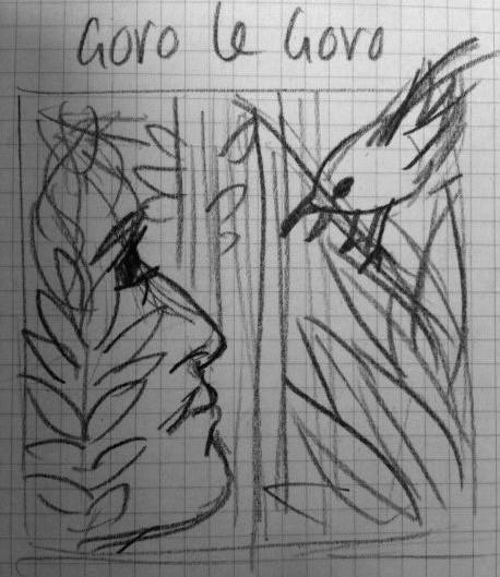 cover sketch for the CD artwork for Goro le Goro album by the London Bulgarian Choir. Design by Jay Alvarez